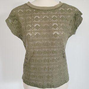 Khaki Green Lace Front Top (M)